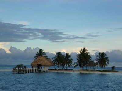 Rendezvous Caye (you can see it's total population under the thatched roof)
