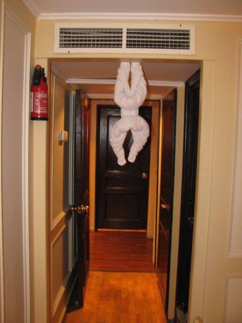 A Towel Chicken in our Doorway