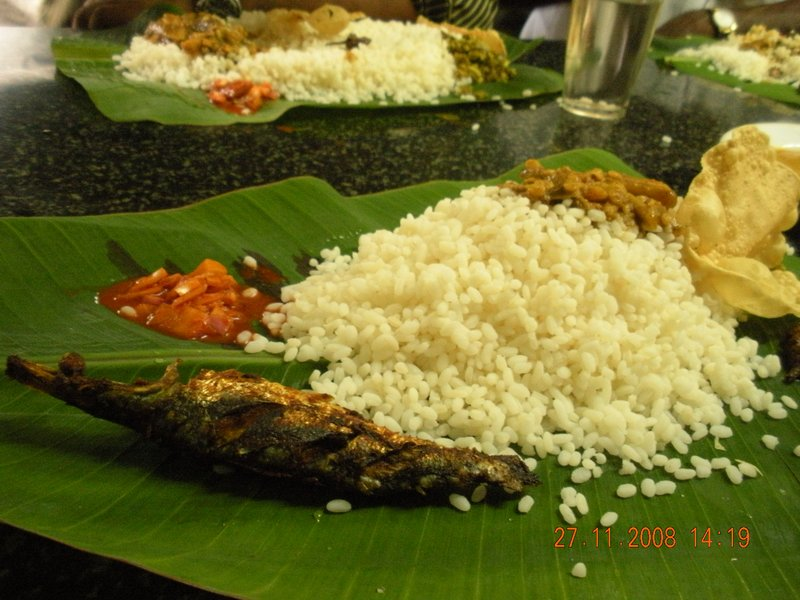 Authentic Kerela food served on banana leaf