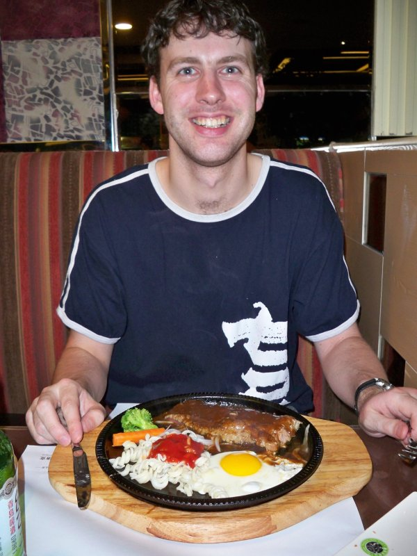 Bill with his 'Western-style' meal