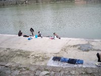 Washing clothes in the river in Jinyun