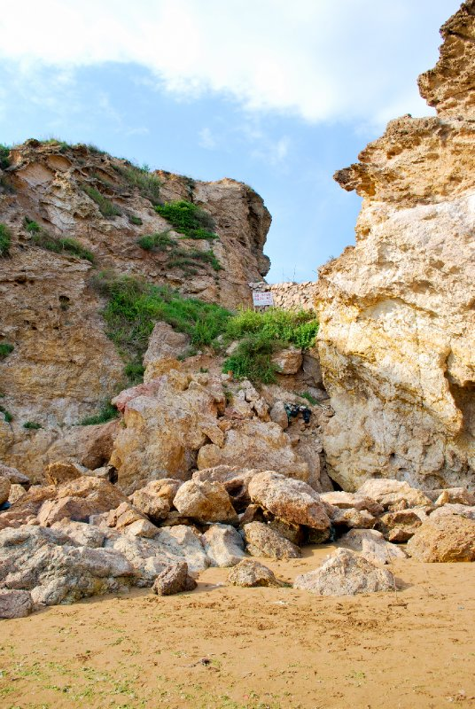 Rocks facing the beach