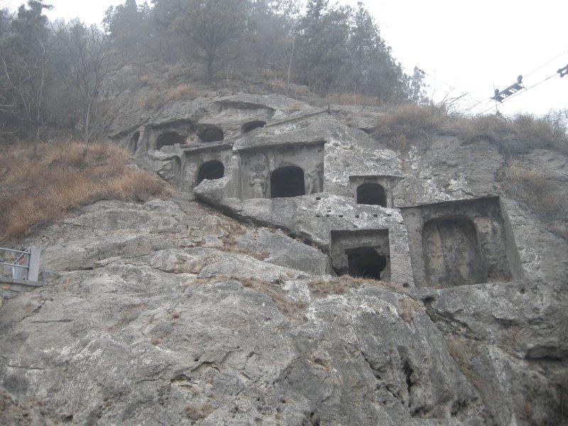 Caves along the hillsides