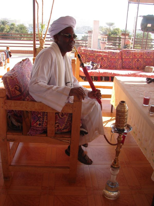 nubian man with sisha