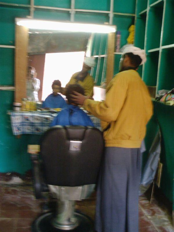 local hairdresser in nubian village