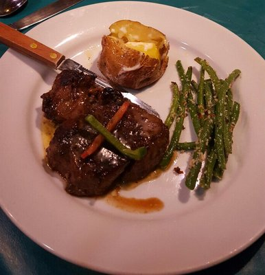 Filet mignon at turned turtle restaurant