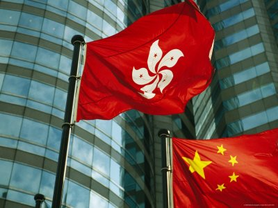 Hong Kong and Chinese flag
