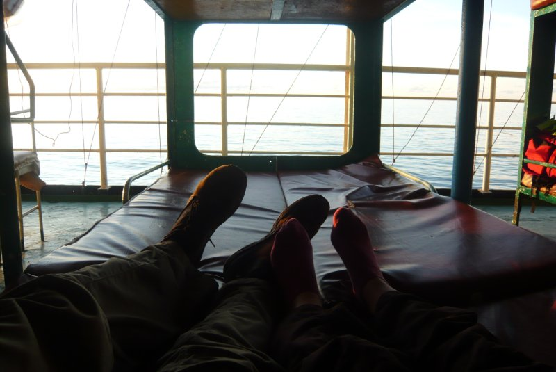 Relaxing on the ferry to Borneo