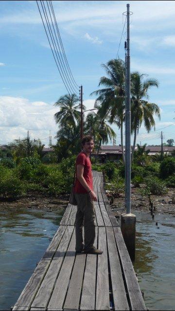 Adam on Kampong Ayer walkway