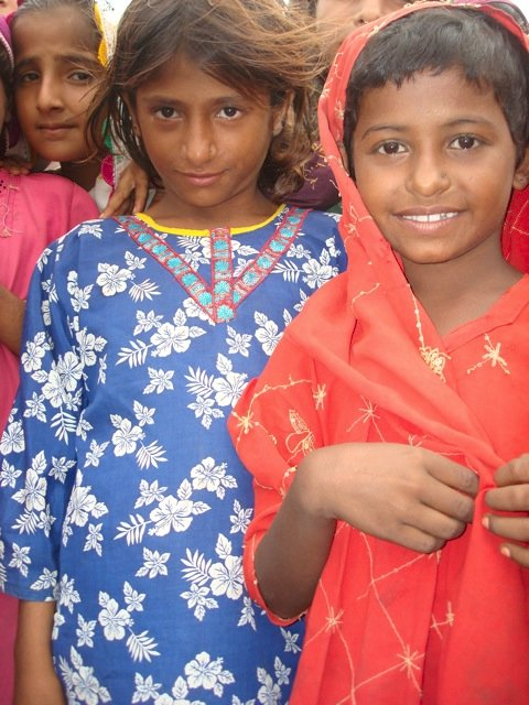 Girls in flood relief camp