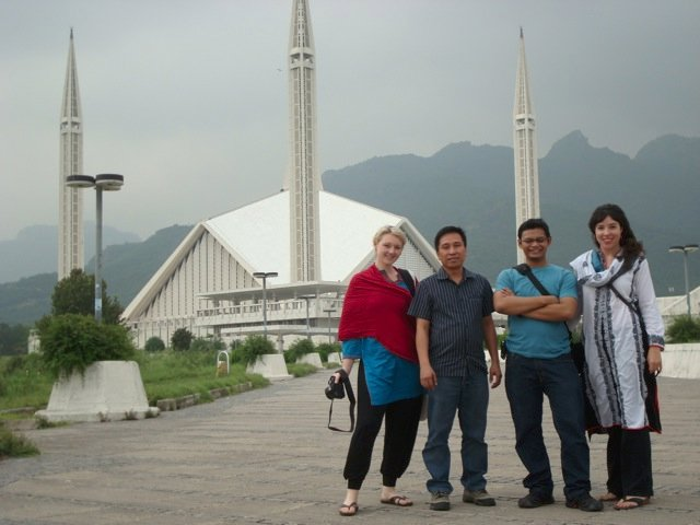 Colleagues outside Faisal mosque
