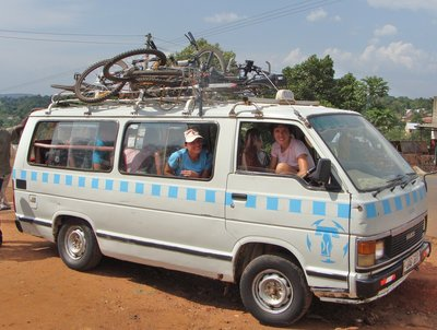 A minibus full of bikes and bikers