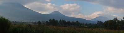 View of volcanoes from the Ugandan side
