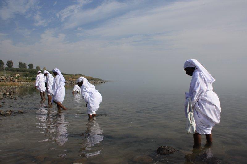 Nigerian pilgrims, Sea of Galilee