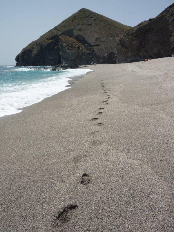 Footprints at the Playa de los muertos - Cabo de Gata