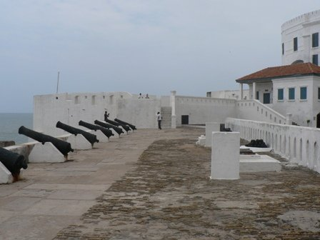 The outer sea-facing wall: Cape Coast Castle's main defence