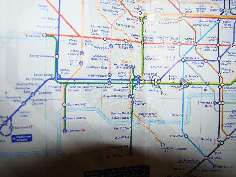 Map of Southwest London tube lines
