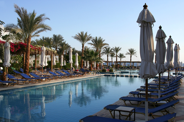 Blue colors of a Red Sea hotel in Egypt