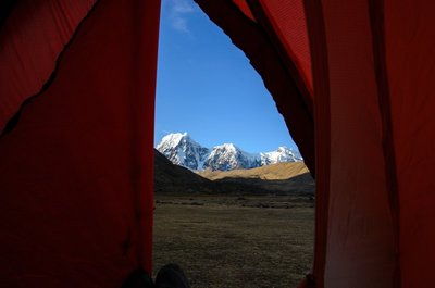 Nevado Jatunjampa seen from the tent in Jampa