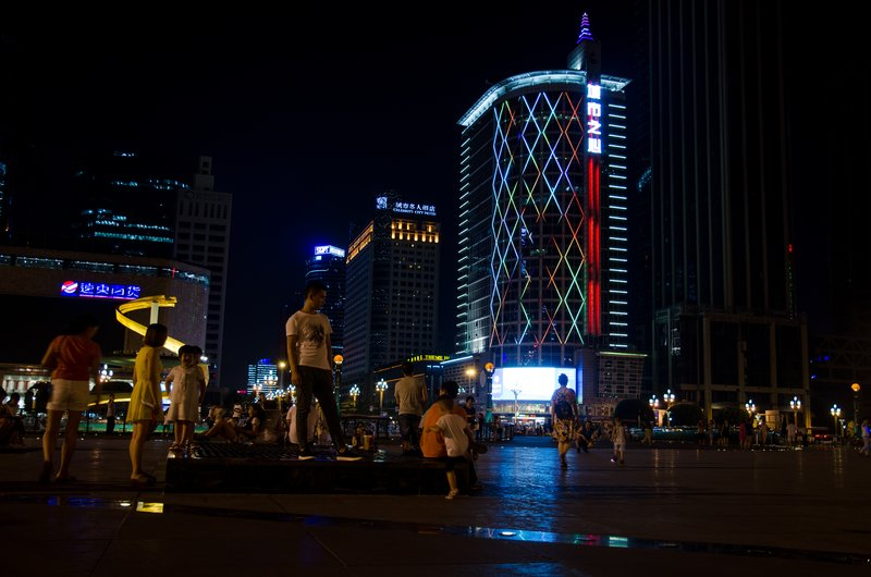 Tianfu square at night