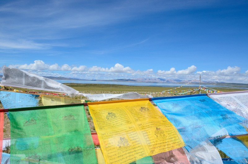 Tibetan flags, lake Manasarovar