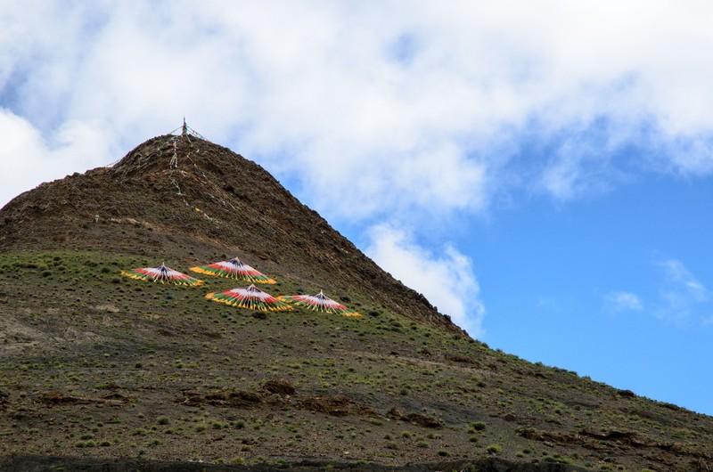 Tibetan prayer flags at Karola glacier