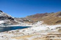 Snowcovered trail past laguna Jatun Pucacocha