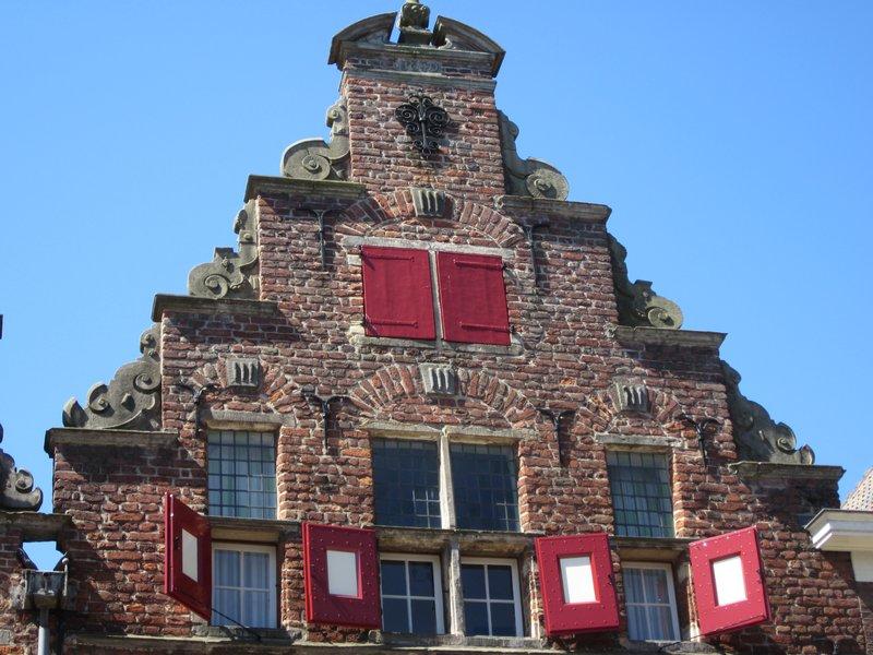 Red doors on building