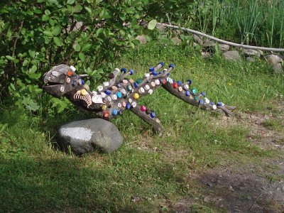 An inventive garden ornament in the dacha village