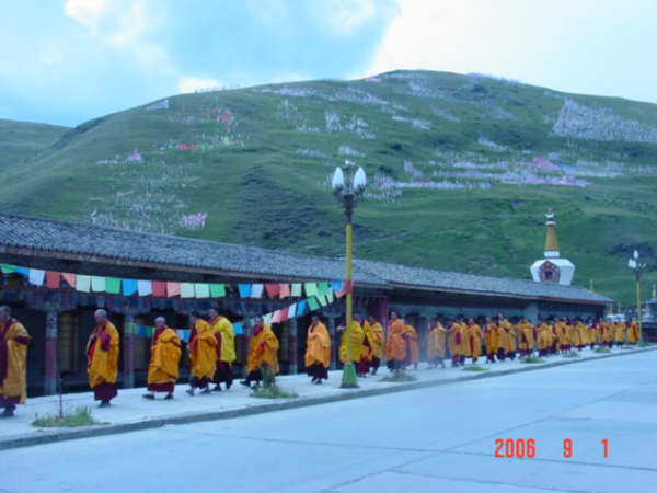 lamaist perform their daily ceremony,walking