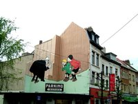 Hergé wall painting, Brussels