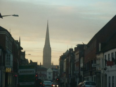 Spire rises from the city