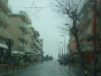 Snowy streets of Italy
