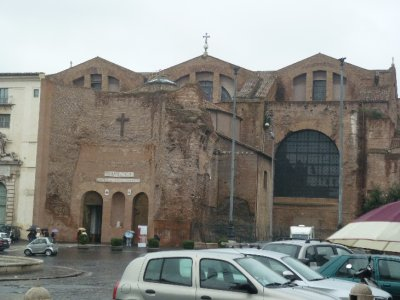 Santa Maria Degli Angeli from the front-- used to be a Roman Bath!
