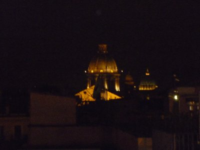 View of church domes from top of Spanish Steps
