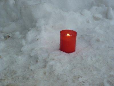 Candle outside barrack camp II