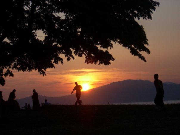 Sunset from a city beach