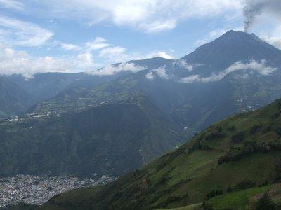 Tungurahua Volcano towering above Banos