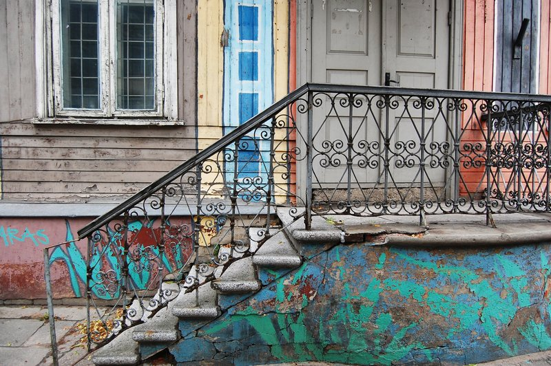 Old, colourful building in Kaunas