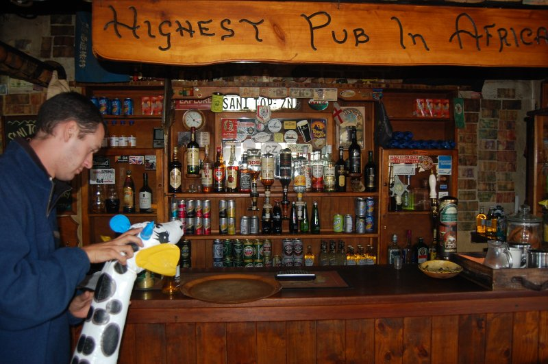 Fred and Rich at the highest pub in Africa