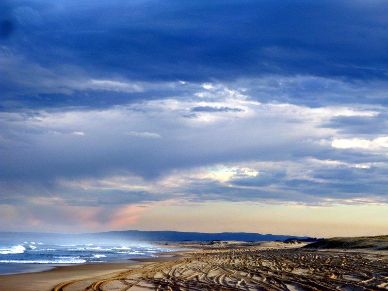 Beautiful sunset at Stockton Beach, NSW Australia