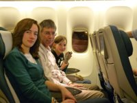 Emma, Chris and Rosemary on Air New Zealand flight NZ8 from Auckland to San Francisco