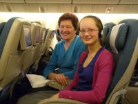 Shirley and Jennifer on Air New Zealand flight NZ8 from Auckland to San Francisco