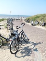 Bikes along the path to the Noord Strand, Katwijk, Netherlands