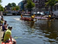 A dragon boat race on the Nieuwe Rijn, Leiden
