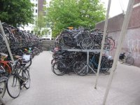 A bicycle park in Leiden. For about 0.5 euros you can park your bike in a secure, manned facility for the whole day.