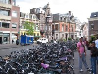 Bikes in a bike stand in the old centre of Leiden