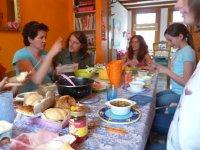 Shirley, Herbert, Nancy, Rosemary and Emma enjoying a meal in Alkmaar