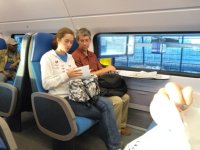 Emma and Chris on the top deck of the double-decker train from Alkmaar to Leiden