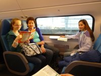 Jennifer, Shirley and Rosemary on the top deck of the double-decker train from Alkmaar to Leiden
